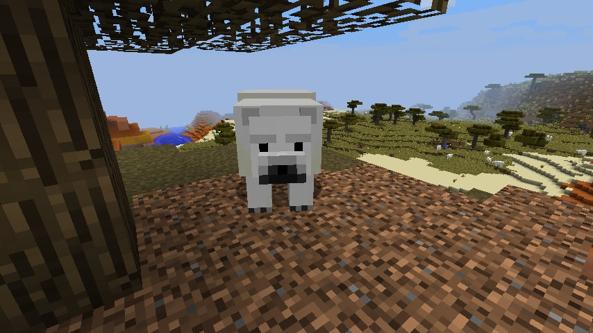 minecraft polar bear looking at the camera