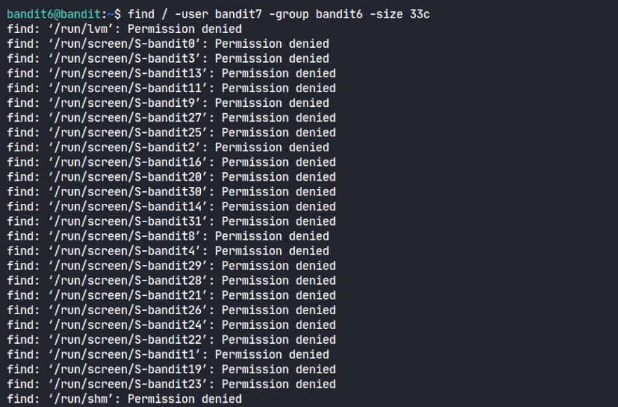 find command initial output