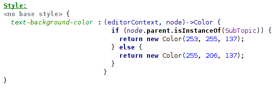 Function to pick a color in the editor