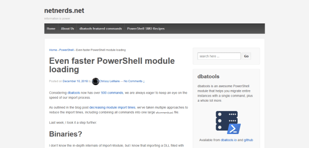 A screenshot of Chrissy LeMaire's article on using compression to improve the loading times of her Powershell modules.