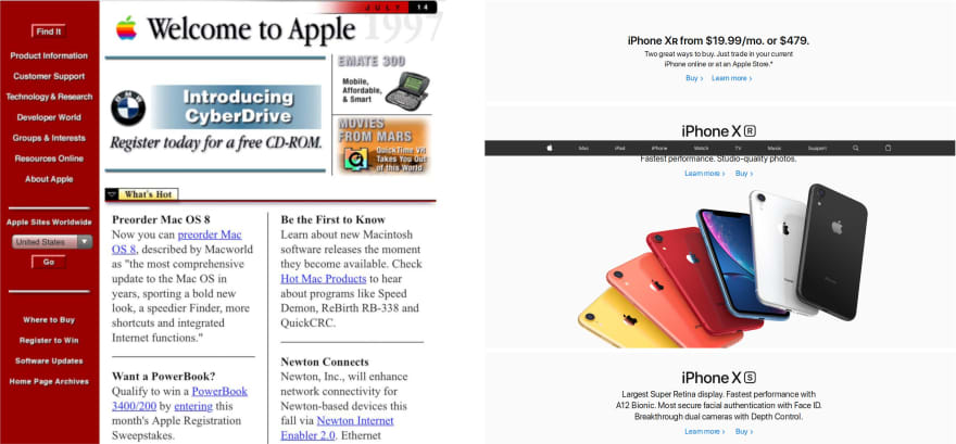 screenshot of apple website