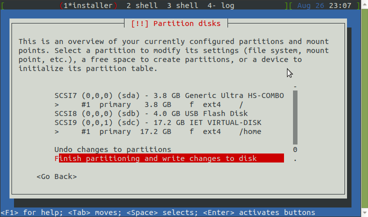 This is an overview of your currently configured partitions and mount points