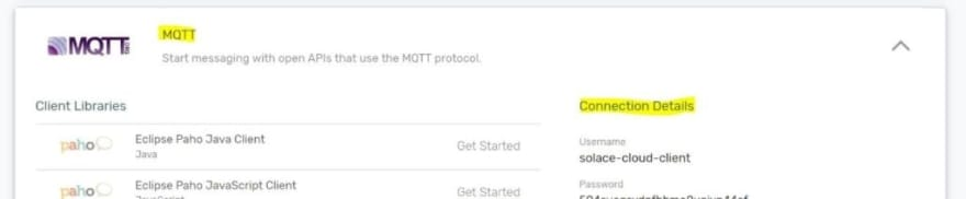 PubSub+ Cloud screenshot with details on how to connect to the instance via MQTT