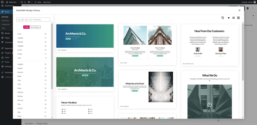Stackable has built-in templates along with eye-catching pre-made designs for Gutenberg blocks.