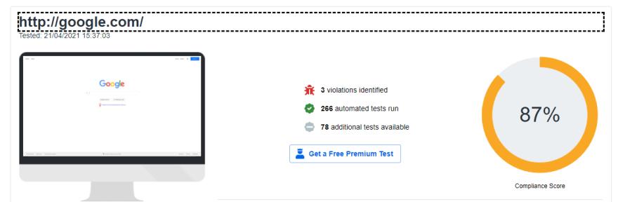 Resultado do diretrizes WCAG do site google.com executado pelo site webaccessibility.com