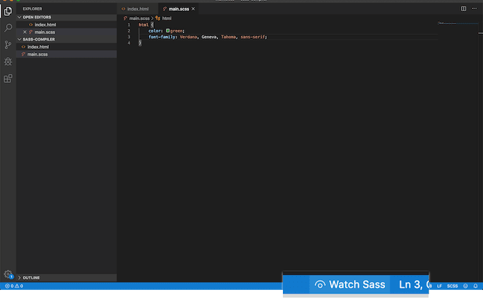 Press the 'Watch Sass' button to start the compiler