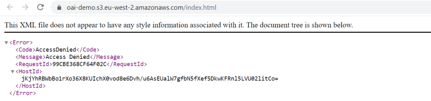 Hitting index.html on S3 endpoint receives an Access Denied error
