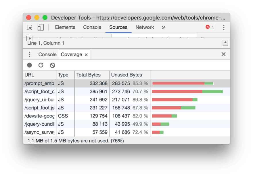 CSS/JS coverage in Chrome - DEV Community 👩 💻👨 💻