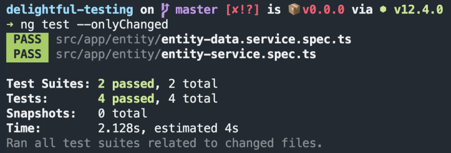 ng test --onlyChanged checking against our git uncommitted changes
