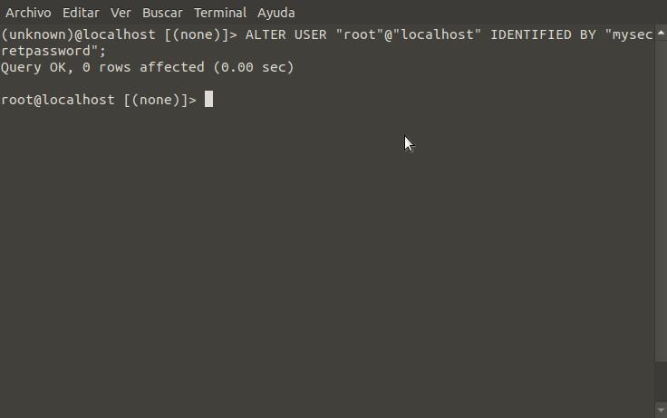 Altering root's password