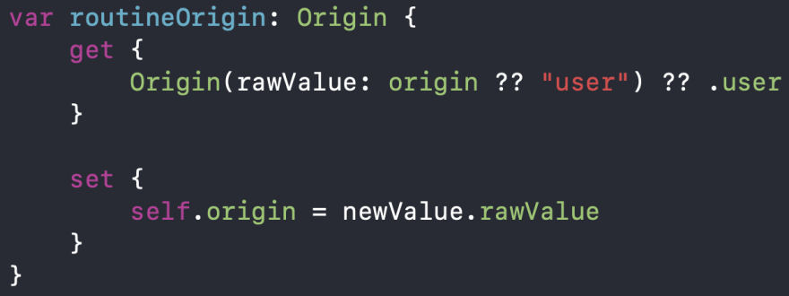 Code snippet of routineOrigin computed property
