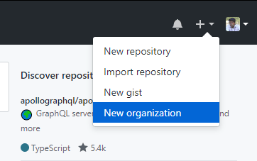 Picture of the new organization option in the drop-down