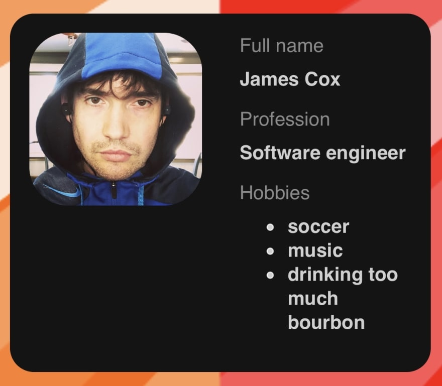 Screen shot of card I made with Flexbox