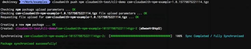 cloudsmith push npm