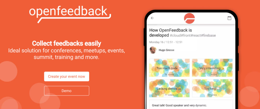 Cover image for OpenFeedback.io: open source talk & conference feedbacks SaaS