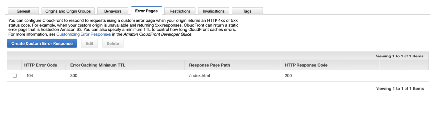 Cloudfront handle 404 errors configuration Step 1 Screenshot