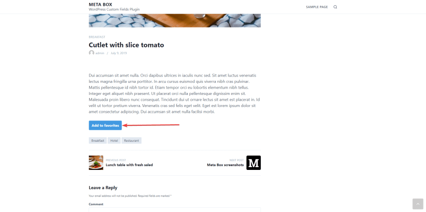 a favorite button shows up on the posts of your WordPress website