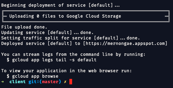 Beginning deployment of service