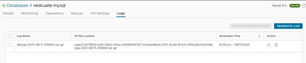 Data Management for Tanzu - Org User - Logs