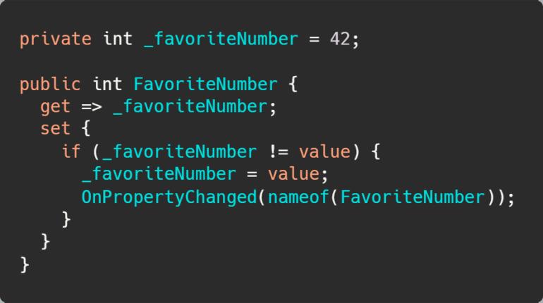 Notify Property Changed using the C# 6 nameof operator.