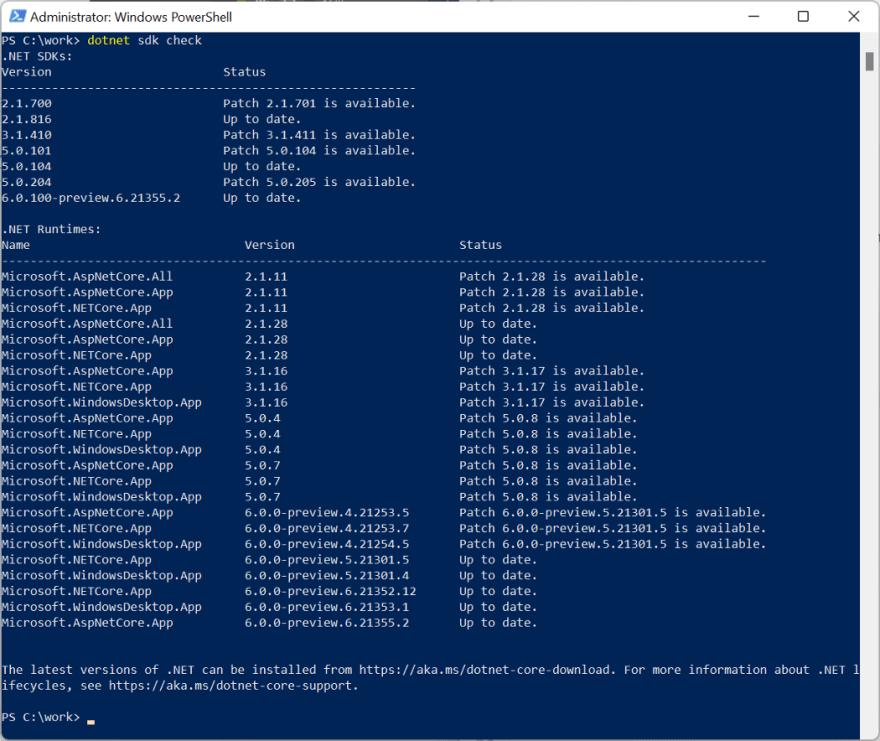 Checking dotnet sdk version<br>