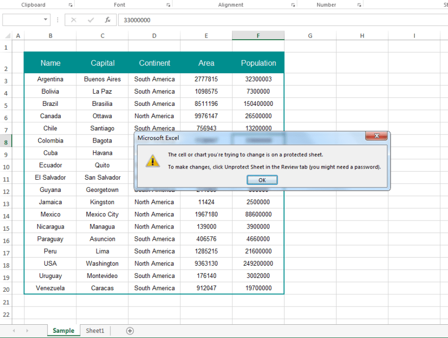 Protect Excel worksheet