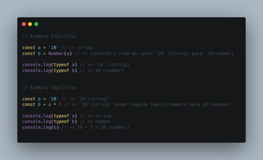 Coerção de tipos no JavaScript
