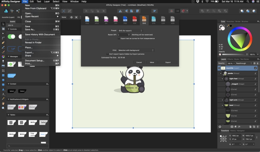 exporting an SVG in Affinity Designer