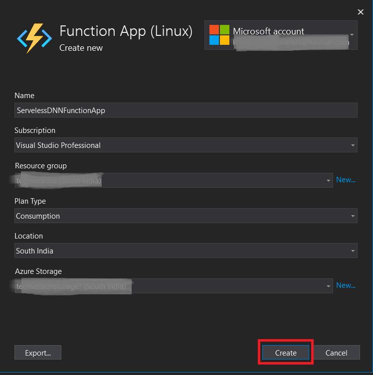 Azure Function details