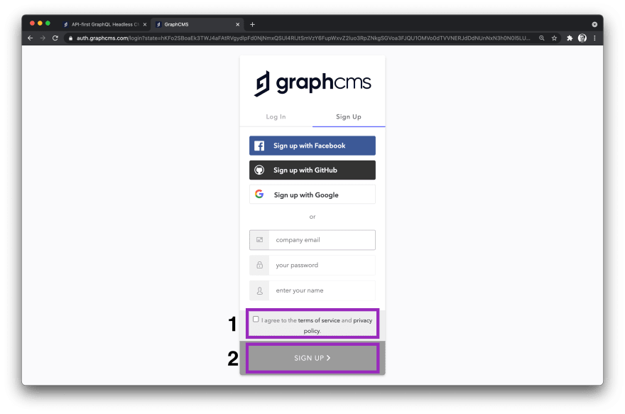 GraphCMS Sign up page