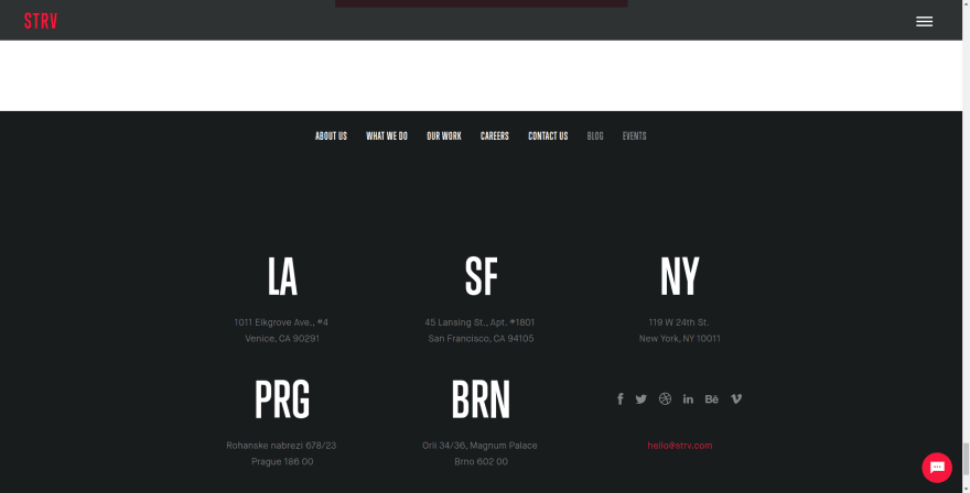Black background design, black header and footer example