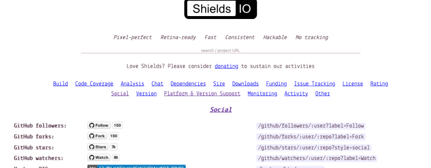 Shields.io Home Page