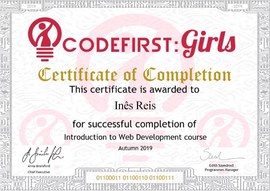 CFG Inês Reis certificate