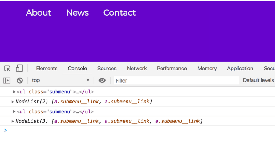 Google Chrome console displaying both the unordered list elements with the class of submenu and the NodeLists associated with the links below them.