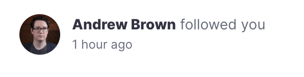 Notification that Andrew Brown followed you on Polywork