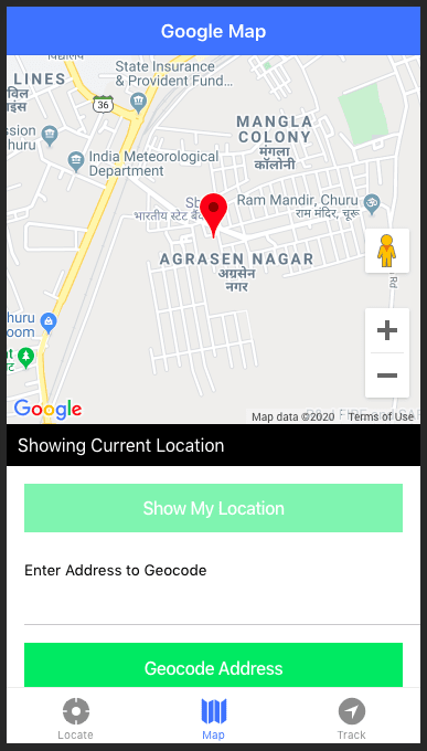Showing current geolocation on AGM Google Map in Capacitor — Web