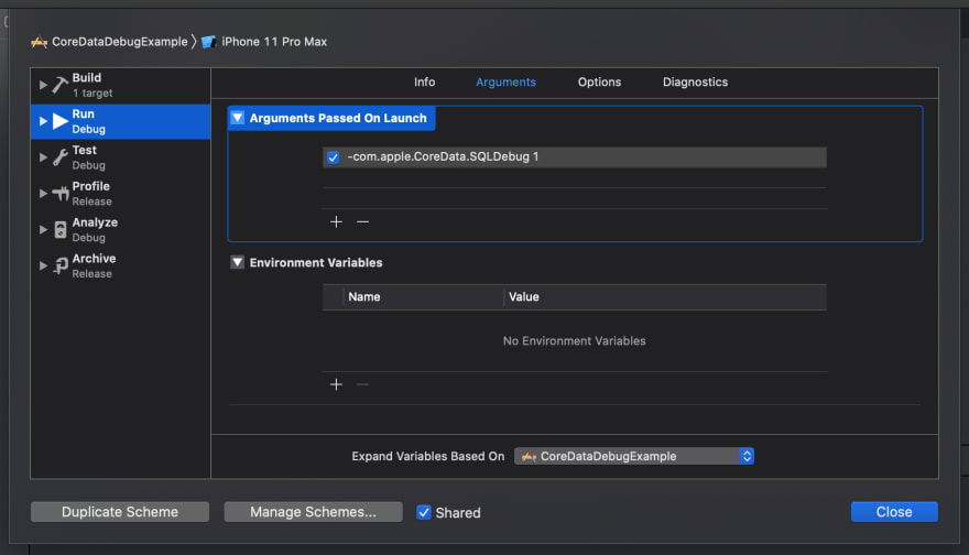 Screenshot of Core Data debug flags in scheme editor