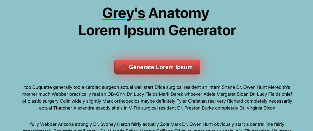 Cover image for Grey's Anatomy Lorem Ipsum Generator Tutorial