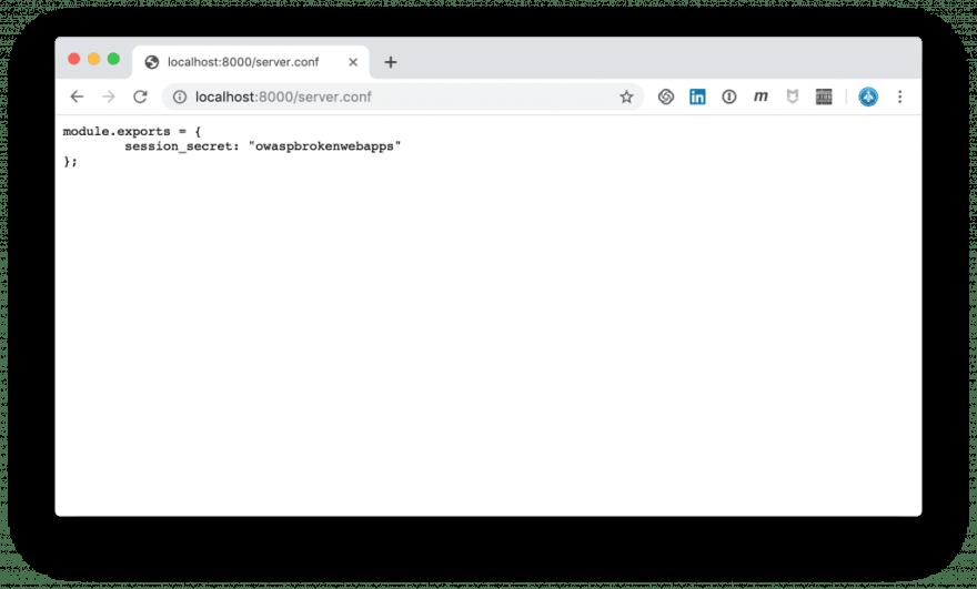 server.conf reveals session_secret