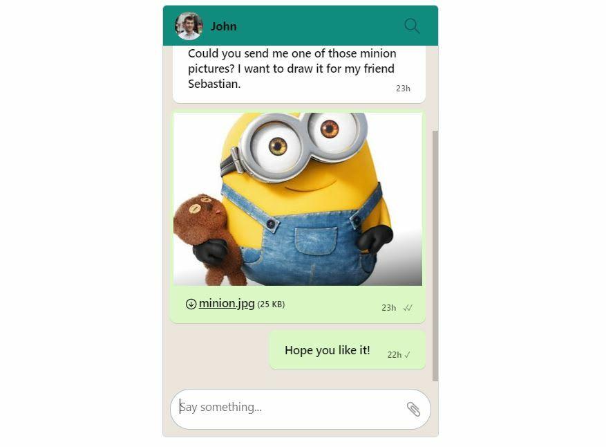 TalkJS Chatbox WhatsApp Theme Mobile
