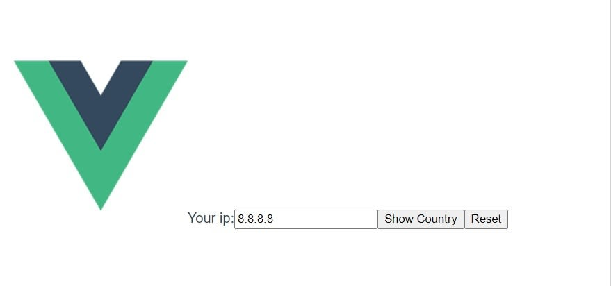 """By pressing """"show country"""", an API request will be send to show you country name"""
