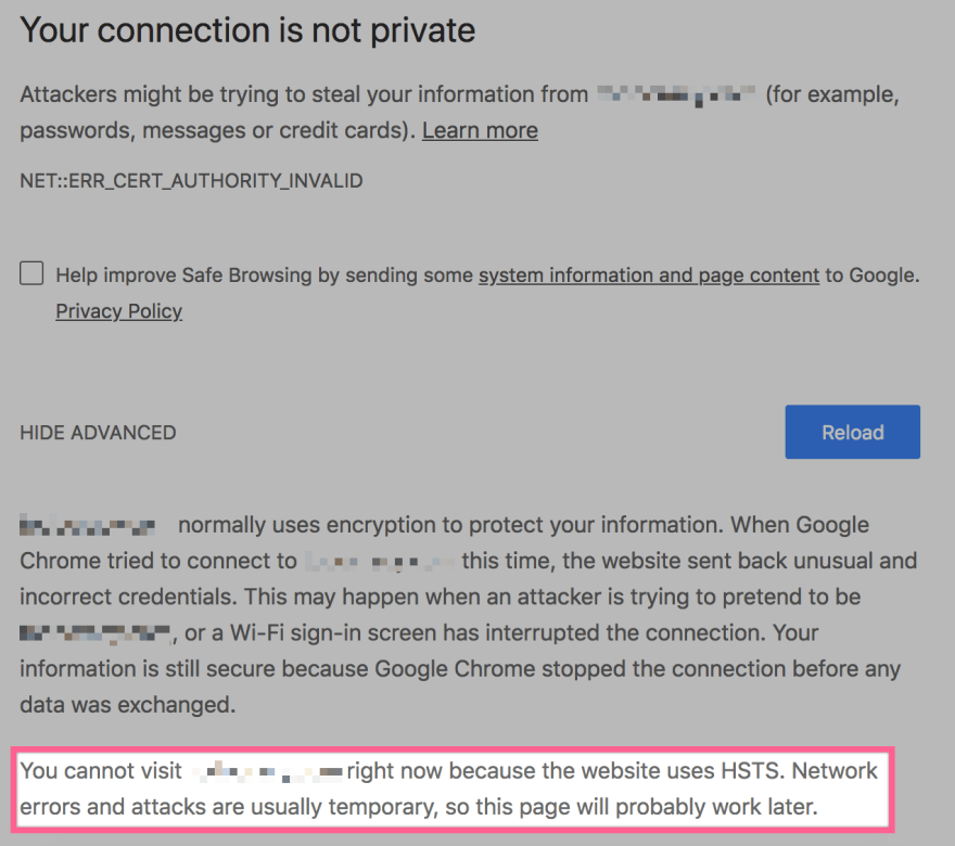 How to get through Chrome security error pages