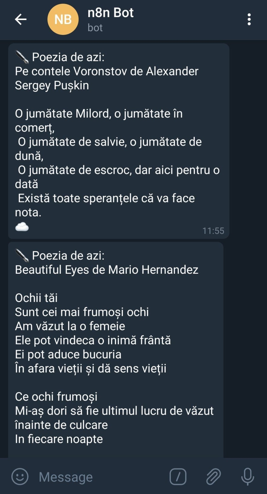 Message of a poem in a Telegram chat