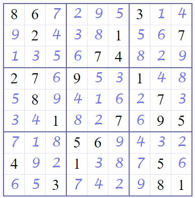 Solved Sudoku puzzle