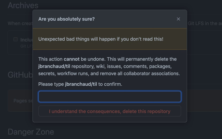 GitHub's confirmation modal for deleting a repository