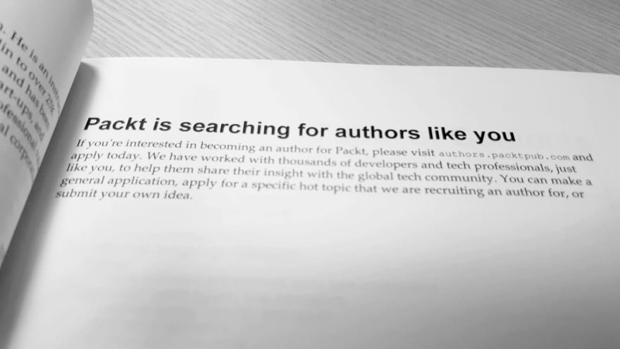 A recruitment advert for technical authors in one of the Packt Publishing books