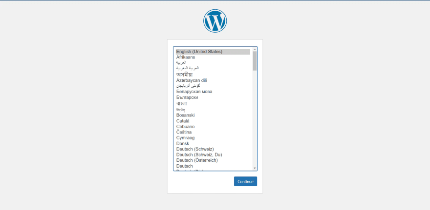 WordPress - select language of interface