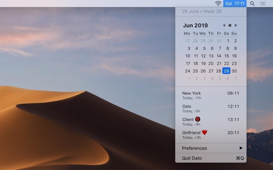 Screenshot of Dato's Calendar
