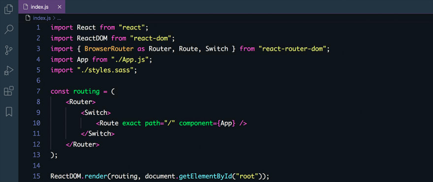 React code snippet with the Dracula At Night theme
