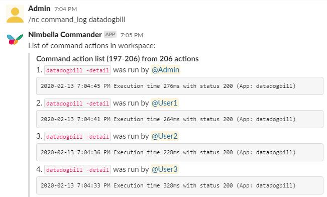 Datadog billing info for Slack. Shows command log of who ran the command on Slack for Datadog billing info.